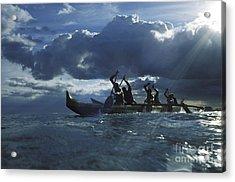 Paddlers At Sunset Acrylic Print by Bob Abraham - Printscapes