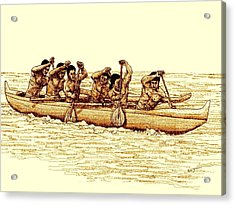 Paddlers In Outrigger Canoe Acrylic Print
