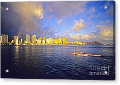 Paddling Beneath Rainbow Acrylic Print by Carl Shaneff - Printscapes