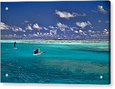 Paddling In Moorea Acrylic Print by David Smith