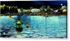Paddling In Old Forge Pond Acrylic Print by David Patterson