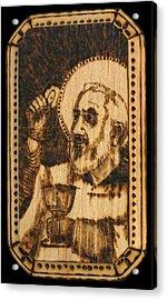 Padre Pio Pyrograph Acrylic Print by Melissa Cavaliere