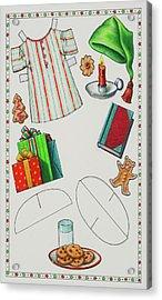 Page 2 Of 2 Teddy Bear Santa Paper Doll Acrylic Print