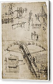 Page From The Notebooks Of Leonardo Da Acrylic Print by Everett