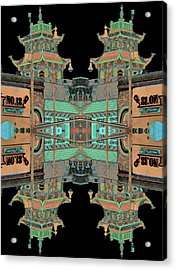 Acrylic Print featuring the photograph Pagoda Tower Becomes Chinese Lantern 1 Chinatown Chicago by Marianne Dow