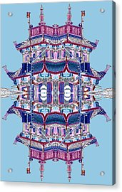 Acrylic Print featuring the photograph Pagoda Tower Becomes Chinese Lantern 2 Chinatown Chicago by Marianne Dow