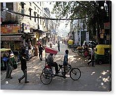 Pahar Ganj Rickshaw Acrylic Print by David L Griffin