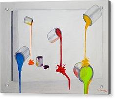 Paint Cans Vivid Colors Acrylic Print by Ken Figurski