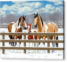 Paint Horses In Winter Corral Acrylic Print