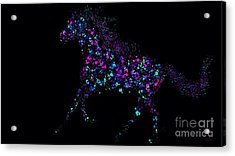 Acrylic Print featuring the painting Paint Splattered Pony by Nick Gustafson