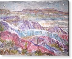 Acrylic Print featuring the painting Painted Desert by Ellen Levinson