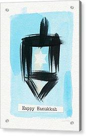 Painted Dreidel Happy Hanukkah- Design By Linda Woods Acrylic Print by Linda Woods