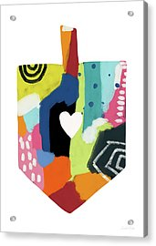 Acrylic Print featuring the mixed media Painted Dreidel With Heart- Art By Linda Woods by Linda Woods