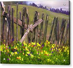 Painted Fence Acrylic Print by Vicki Tomatis