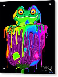 Acrylic Print featuring the digital art Painted Flower Frog  by Nick Gustafson