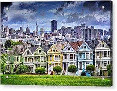 Painted Ladies Of San Francisco  Acrylic Print by Carol Japp