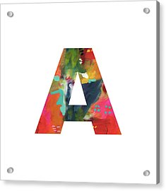Painted Letter A -monogram Art By Linda Woods Acrylic Print