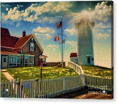 Painted Nobska Lighthouse On Cape Cod Acrylic Print by Gina Cormier