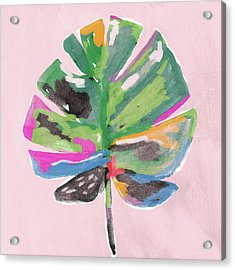 Acrylic Print featuring the mixed media Painted Palm Leaf 2- Art By Linda Woods by Linda Woods