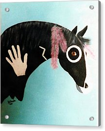 Painted Pony With Feather Acrylic Print