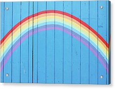 Painted Rainbow On Wooden Fence Acrylic Print by Richard Newstead
