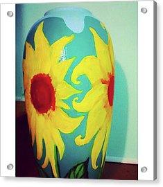 Painted Sunflowers On A Huge Vase Acrylic Print