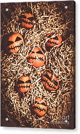 painted tangerines for Halloween Acrylic Print by Jorgo Photography - Wall Art Gallery