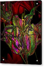 Acrylic Print featuring the photograph Painted Tulips by Irma BACKELANT GALLERIES
