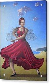 Painting Artwork Flamenco Dancing In Seville Beach  Acrylic Print by Luigi Carlo