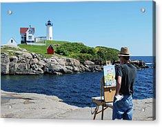 Painting Nubble Lighthouse Acrylic Print