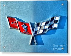 Painting Of 1977 Chevrolet Corvette Badge Acrylic Print by George Atsametakis