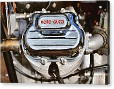 Painting Of A 1972 Moto Guzzi V7 Cylinder Head Acrylic Print
