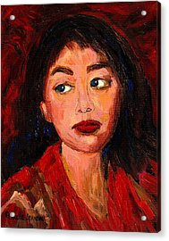 Painting Of A Dark Haired Girl Commissioned Art Acrylic Print by Carole Spandau