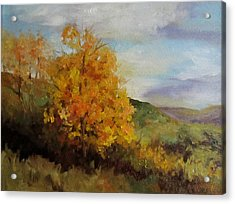 Painting Of A Golden Tree Acrylic Print