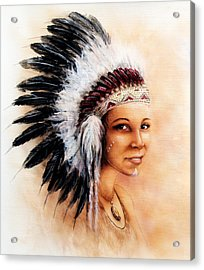 Painting Of A Young Indian Woman Weaillustration Painting Young Indian Woman Wearing A Gorgeous Feat Acrylic Print