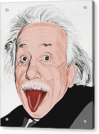 Painting Of Albert Einstein Acrylic Print by Setsiri Silapasuwanchai