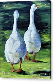 Painting Of Ducks Waddling Home Acrylic Print by Cheri Wollenberg