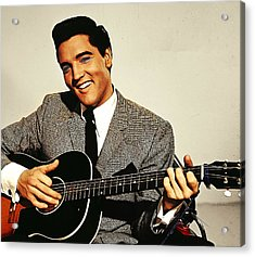 Painting Of Early Young Elvis With Guitar Acrylic Print by Elaine Plesser
