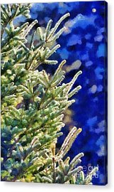 Painting Of Fir Tree Branches Acrylic Print by George Atsametakis