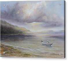 Acrylic Print featuring the painting Beach By Sruce Run Lake In New Jersey At Sunrise With A Boat by Katalin Luczay