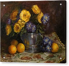 Painting Of Oranges And Poppies Acrylic Print by Cheri Wollenberg