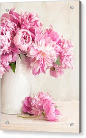 Painting Of Pink Peonies In Vase/digital Painting   Acrylic Print