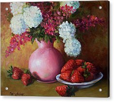 Painting Of Pink Pitcher And Strawberries Acrylic Print by Cheri Wollenberg
