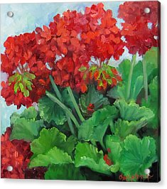 Painting Of Red Geraniums Acrylic Print by Cheri Wollenberg