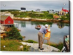Painting Peggys Cove Acrylic Print