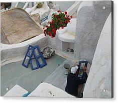 Painting Shutters In Santorini Greece Acrylic Print by Nikki Borden