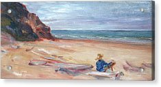 Painting The Coast - Scenic Landscape With Figure Acrylic Print