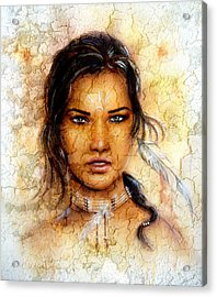 Painting Young Indian Woman Wearing A Feather Eye Cont Crackle Background. Acrylic Print