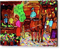 Paintings Of Montreal Streets Old Montreal With Flower Cart And Caleche By Artist Carole Spandau Acrylic Print by Carole Spandau