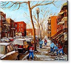 Paintings Of Verdun Streets In Winter Hockey Game Near Row Houses Montreal City Scenes Acrylic Print by Carole Spandau